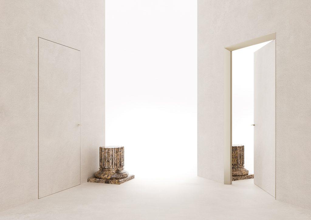 Auf einer Seite der Tür ist die Zarge konsequent minimalistisch konzipiert und lässt die Tür wandbündig abschließen.